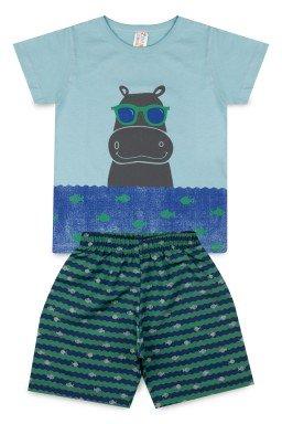 Conjunto Infantil Menino Meia Malha Tactel Estampado Hipopótamo