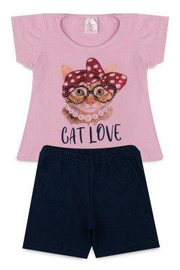 Conjunto Infantil Menina Cotton Cat Love