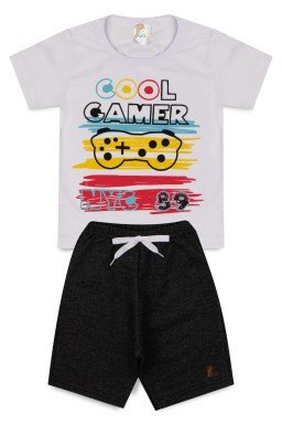 Conjunto Infantil Menino Meia Malha Moletinho Mescla Cool Gamer