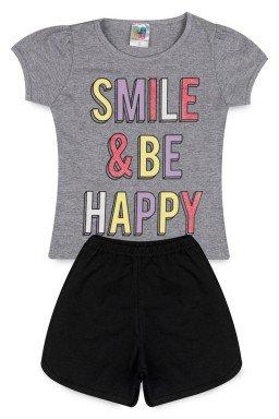Conjunto Infantil Menina Meia Malha Cotton Smile