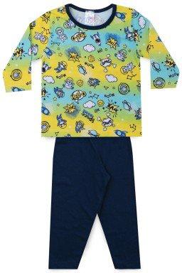 Pijama Infantil Menino Meia Malha Astronauta