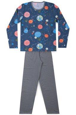 Pijama Juvenil Masculino Meia Malha Planetas
