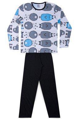 Pijama Juvenil Masculino Meia Malha Monster