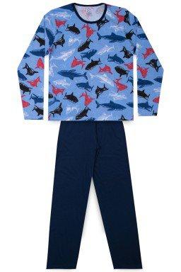 Pijama Juvenil Masculino Meia Malha Tubarão