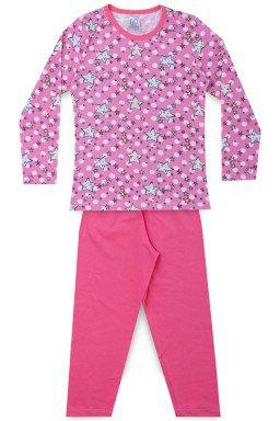 Pijama Infantil Menina Meia Malha Estrela