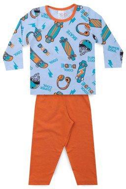 Pijama Infantil Menino Meia Malha Skate