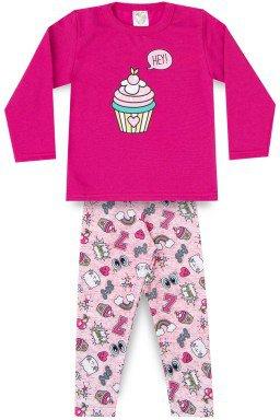 Conjunto Infantil Menina Casaco Moletom Suplex Rotativo Cup Cake