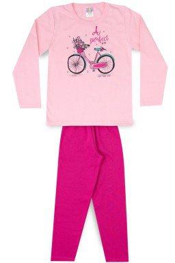 Conjunto Infantil Menina Moletom Bike Flower