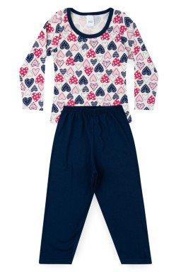 Pijama Infantil Menina Meia Malha Coração