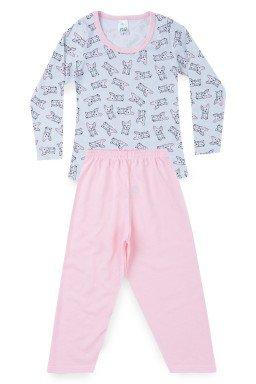 Pijama Infantil Menina Meia Malha Cachorrinho