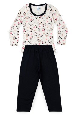 Pijama Infantil Menina Meia Malha Gatinho