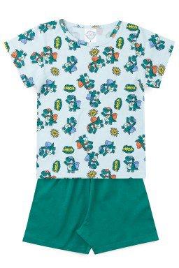 Pijama Infantil Menino Meia Malha Jacaré