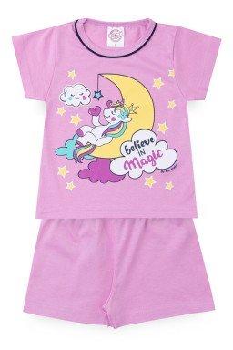 Pijama Infantil Menina Meia Malha Unicórnio